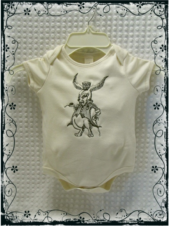 Alice in Wonderland White Rabbit  Embroidered BodySuit Onesie Tee Tshirt Vintage Style