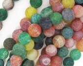 """Multi Color Frost Agate 8mm Round Beads 16"""" Strand FREE SHIPPING"""