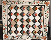 "QuilHand Made - Garden Edged - Green, red, tan, off white , yellow - applique & embroidered, twin / full-82"" X 73"""