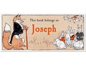 Personalized Bookplates - Vintage Mr. Fancy Fox - Book Labels, Child's First Library