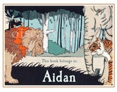 Personalized Vintage Bookplates - Jungle - Boy's Library, Baby Shower