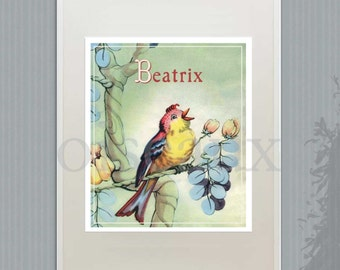 Personalized PRINT - Vintage Bird - Cheerful Nursery, Children's Room Decor, Lovely Girl's Room Print