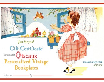 GIFT CERTIFICATE - Oiseaux Vintage Personalized Bookplates - One Set of 24 - Digital Gift Certificate