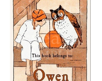 Personalized Bookplates - Vintage Night Owl - Boy's Library, Lovely Birthday Gift