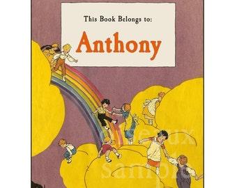 Personalized Bookplates - Vintage Rainbow Bridge - Baby Shower Gift, First Library, Teacher Present