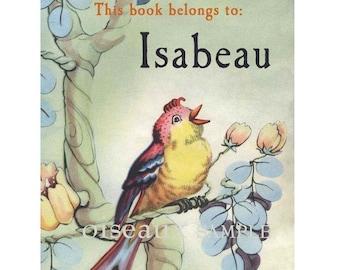 Vintage Personalized Bookplates - Bird - Baby Shower Gift, Nature Lover, Teacher