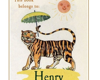 Vintage Personalized Bookplates - Tiger - Children's Library, Baby Shower
