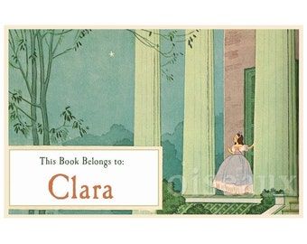 Personalized Vintage Bookplates - First Star- Lovely Girl's Book Labels, Vintage Book Plates, Birthday Present