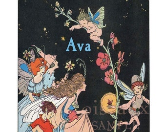 Personalized Bookplates - Fairies and Flowers - Vintage Book Plates, Ex Libris, Waldorf Library
