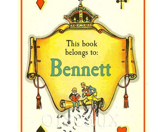 Personalized Bookplates - Royal Banner - Vintage Cute Boy's Library