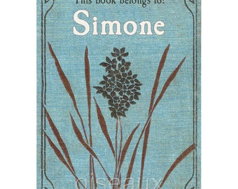 Vintage Personalized Bookplates - Blue Flower - Lovely Teacher Gift, Hostess Present