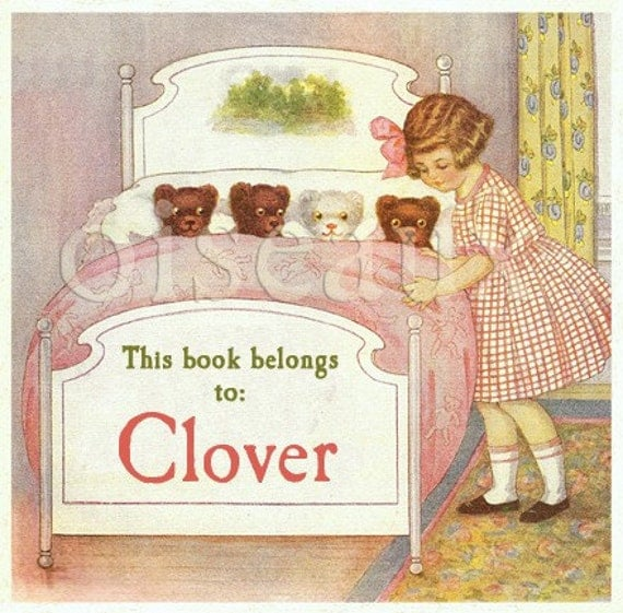 Personalized Bookplates - Goodnight Bears - Vintage Girl's Book Plates, Snuggly Teddy Bears, Ex Libris