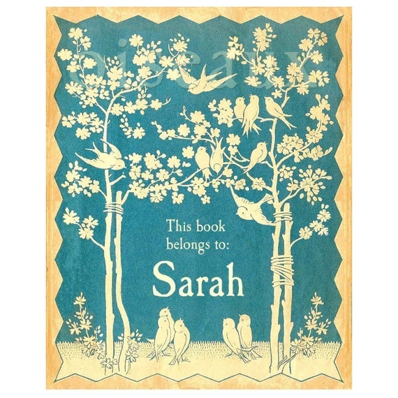 Personalized Vintage Blue Bird Bookplates