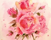 MOTHER ROSE BOUQUET - Mothers Day Gift - 10x8 inch Original Watercolor Painting