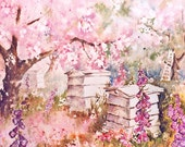 Watercolor BLOSSOM ORCHARD Art Print -  8x10inch archival quality print