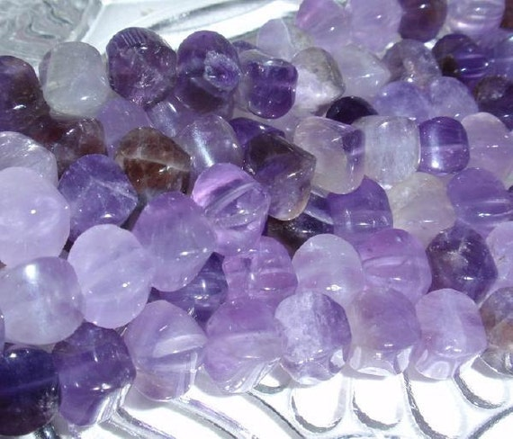 Chevron Amethyst Cushion Gemstone Bead Strand
