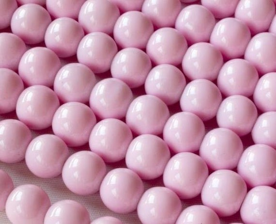 Light Pink Glass Beads 10mm Round Bead Strand