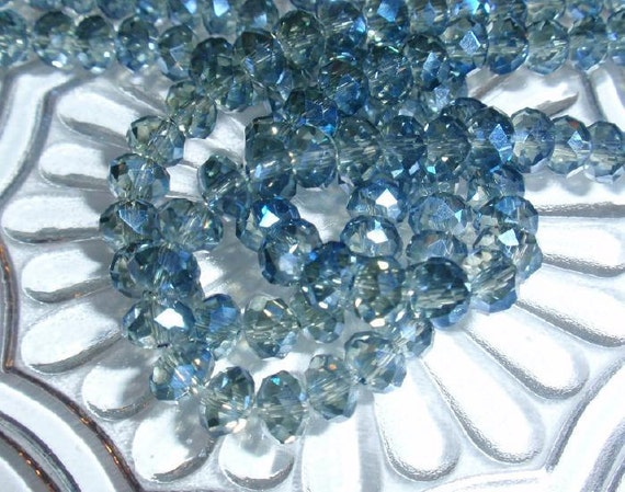 Rondelle Faceted AB 6mm Lolite Crystal Glass Bead Strand