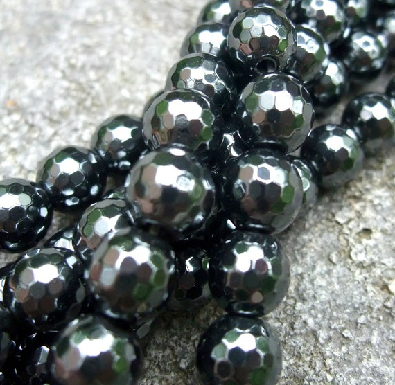 Dark Silver Black Faceted Hematite Disco Round Beads 8mm 8 Inch Strand