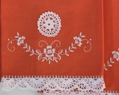 Set of 2 Vintage Orange Embroidered Tea Towels