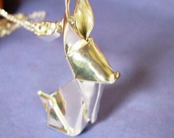 Silver Origami Rabbit Pendant Hand Folded Fine Silver