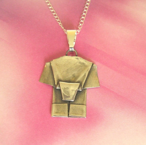Silver Origami Elephant Pendant Hand Folded Fine Silver