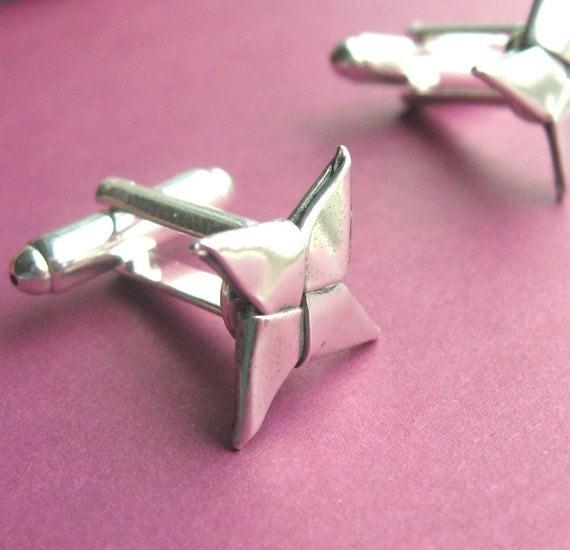 Silver Origami Shuriken Cufflinks - Ninja Stars