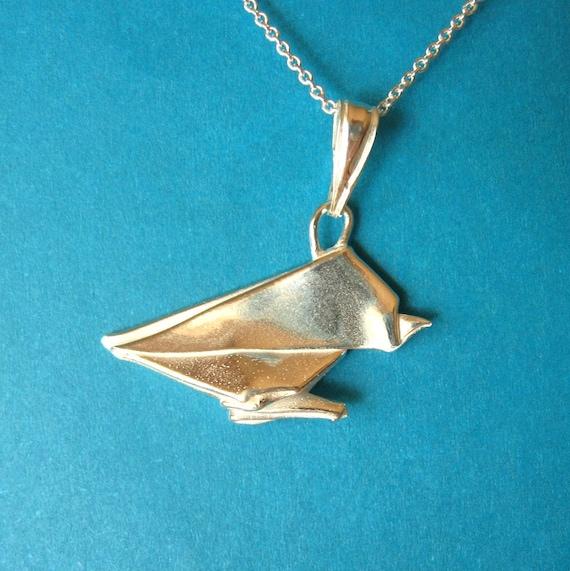 Silver Origami Sparrow Pendant - Origami Bird Necklace - Fine Silver