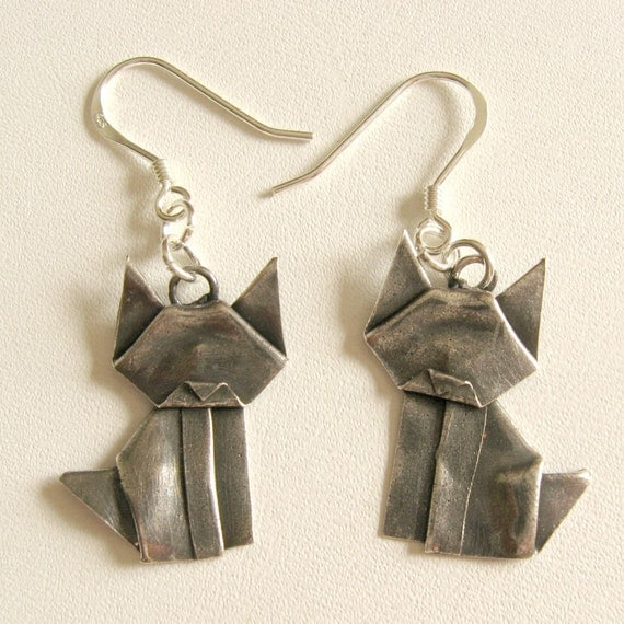 Silver Origami Kitty Earrings