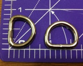 12 PIECES NICKEL PLATED 1/2  inch Unwelded D Rings for Webbing and Leather Products