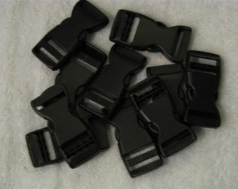 3/4 inch SIDE Release Black Plastic Nylon BUCKLES 10 sets  each set includes 1 male and 1 female
