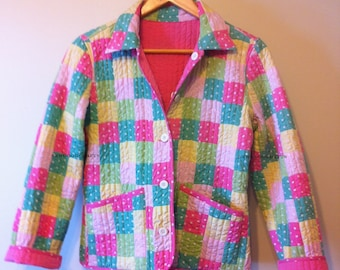 Ladies Patchwork Quilted Jacket in Size SMALL - One of a Kind