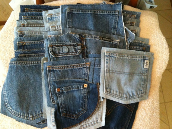 50 Recycled Upcycled Jean Denim Pockets all Cotton