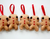 2 Ginger Bread Man Plush Christmas Ornament/ Eco friendly