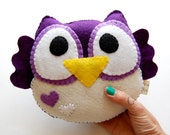 Purple Plush Owl Toy / Eco Friendly Stuffed Toy