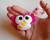 Mini plush Owl keychain / Eco Friendly