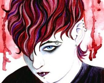 Emo Vampire Art, Vampire Print, Vampire Blood Macabre Art, Gay Art, Dark Angel Horror Art, Fantasy Man, Sexy Male Punk Art, Handsome Men
