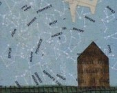 the little house and the starry night. mixed media collage art card