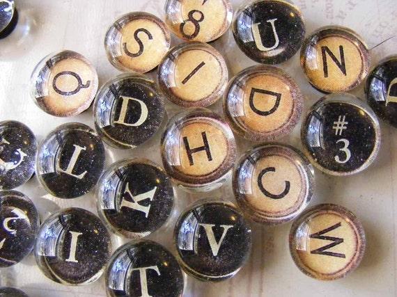 Typewriter key magnets