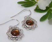 Honey Bees - Sterling Silver Cabochon Earrings