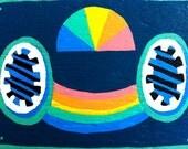 Tape face number three Rainbow teal
