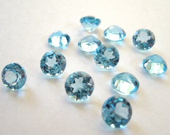 SALE Faceted Gemstone Swiss Blue Topaz 5mm Brilliant Cut FOR ONE
