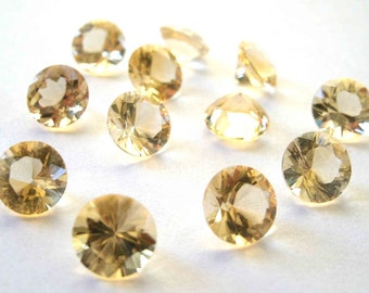 Faceted Gemstones Citrine Brilliant Cut AAA 5mm FOR TWO