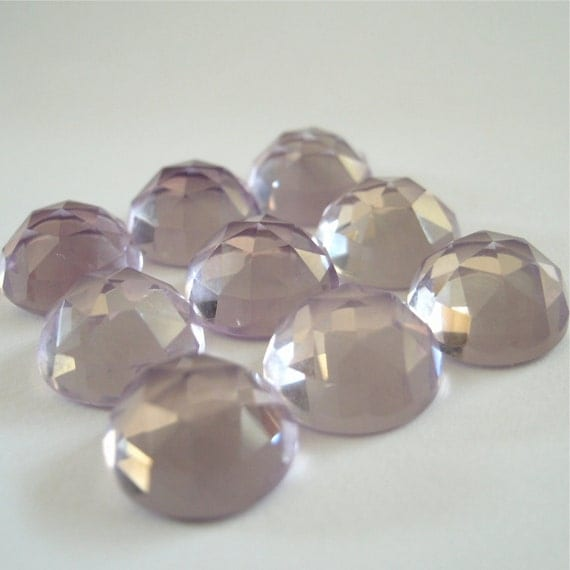 Gemstone Cabochons Pink Amethyst Rose Cut 8mm FOR ONE