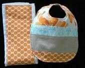Custom Order for Sharon - Amy Butler Burp Cloth and Bib Gift Set