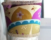 Plum Kaleidoscope and Burlap Coffee Cuff - Reversible