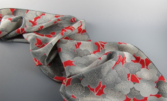 Kimono Silk Scarf Vintage Cheery Red and Gray