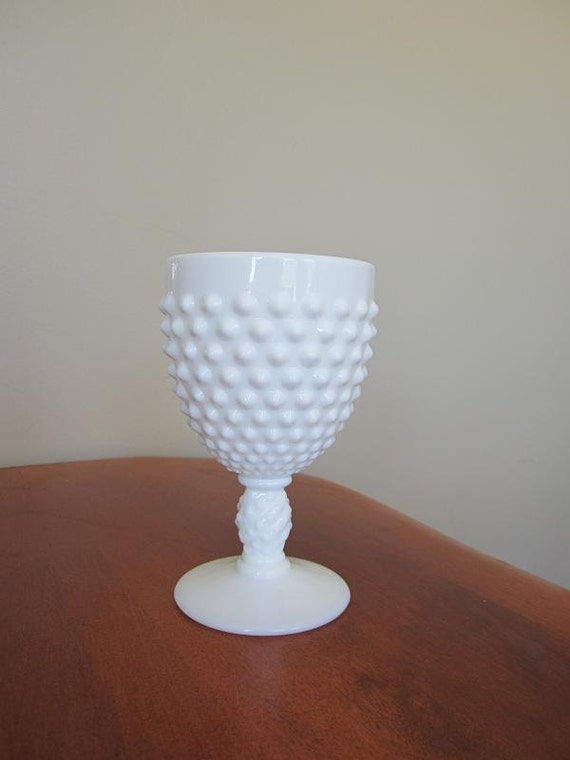 vintage authentic fenton white milk glass hobnail goblet- with sticker