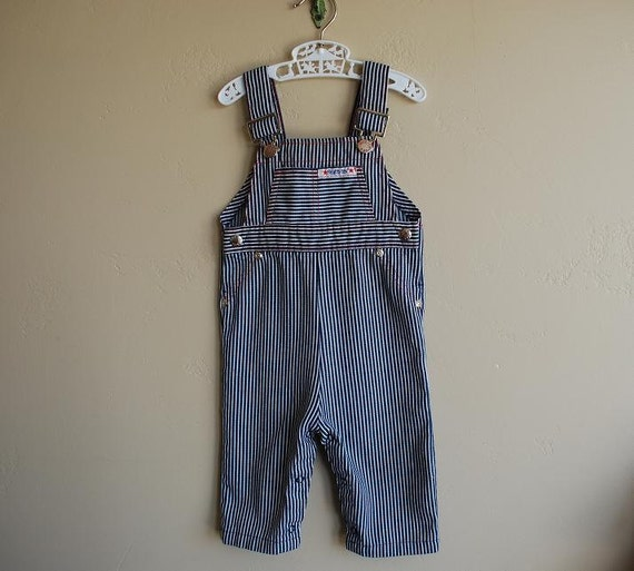 vintage health-tex blue and white striped overalls- 12m