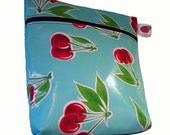 Oilcloth Make Up \/ Cosmetic Bag in Turquoise with Cherries, fully Lined in Red Gingham by nJoy Designs